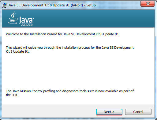 Java installation progress, step 1