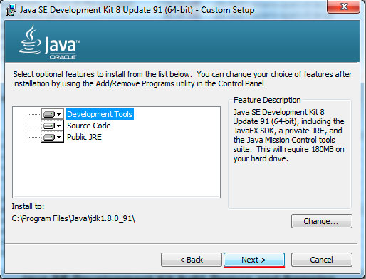 Java installation progress, step 2