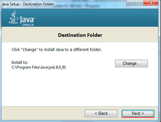Java installation progress, step4