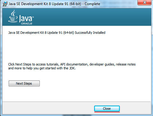 Java installation progress step 6